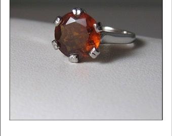 Vintage Platinum 3.1 ct. Spessartite Garnet Engagement Ring