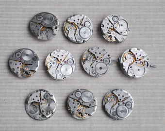 0.8 inch Set of 10 vintage watch movements.