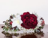 Flower Crown - Christmas Halo- Wedding - Newborn Photo Prop - Wedding Crown - Floral Hairpiece - Holiday Prop - Christmas Crown - Green