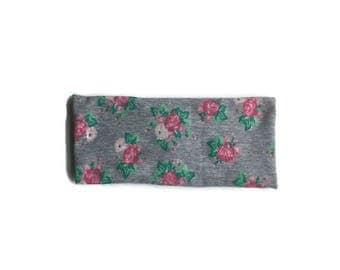 Organic workout headband/ boho headband/ yoga headband/ adult workout headband/ no slip headband/ gray and pink floral yoga headband