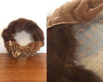 Vintage 50s Mink Dress Hat / Mid Century Fur Halo FacinatorHat w/ Bow