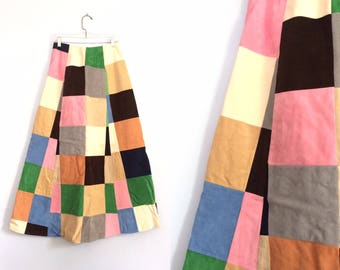 Vintage 70s Patchwork Maxi Skirt / Long Hippie Boho Festival Skirt / Faux Suede Colorblock Skirt  / Size Small