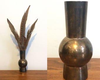 Vintage Geometic Metal Bud Vase / Small Rustic Distressed Silver Metal Vase / Minimal Shabby Chic Vase