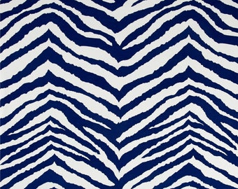 "Two 96"" x 50""  Custom Curtain Panels - Rod Pocket Panels - Indoor Outdoor - Zebra Stripes Navy Blue/White"