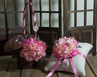 Set of Ring Bearer Pillow and Brown flower girl basket you pick the color of ribbon and flower plus initials
