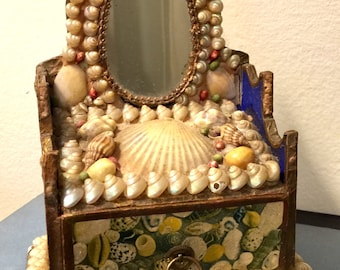 Antique Shell Art English Sailor's Valentine with Mirror