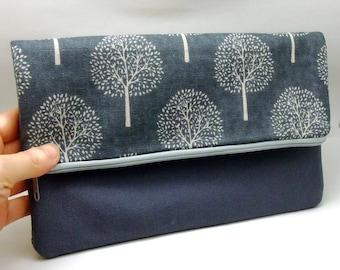 Foldover zipper clutch, zipper pouch, wedding purse, evening clutch, bridesmaid gifts set - Small trees (Ref. FZ8)