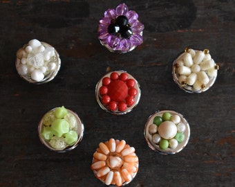 Drawer Pulls Knobs Up Cycled From Vintage Earrings Set of 7