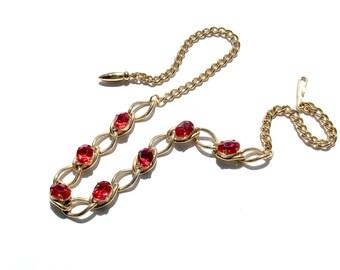 Ruby Red Rhinestone & Gold Link Chain Necklace Children's Ladies Vintage Fashion Jewelry