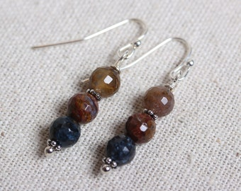Earrings - Stacked Facet Cut Pietersite Stones with Silver Accents
