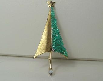 Mid Century Giovanni  Aqua Sugared Christmas Tree Brooch