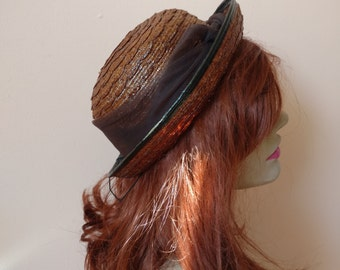 1930s 1940s Natural Straw Brim Hat by Parkley