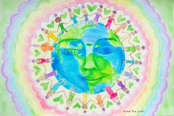 We Are All One Childrens Yoga Art My Body is a Rainbow Kids Chakras print by rachael rose zoller