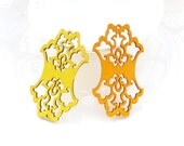 Dyeing Series - 33x 58 mm Filigree Yellow / Orange Bouquet Wooden Charm/pendant /Wood earring/Gift /Laser cut earrings NM57