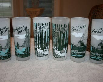 Set of Six 6 Vintage Tall Frosted Glasses Mackinac Bridge, Hartwick Pines, Soo Locks Michigan Landmarks Retro Kitsch Mid Century