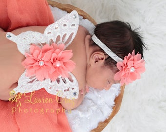 Peach And White Butterfly wings AND / OR matching headband for newborns, newborn photographer, ready to ship, bebe, Lil Miss Sweet Pea