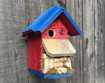 Cork Birdhouse Farmhouse Country Style Functional For Birds, Rustic Unique Bird House Handmade & Painted Birdhouses For Sale,Item #513759168