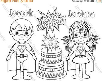 on sale personalized printable twins superhero super hero girl birthday party favor childrens kids coloring page book activity pdf or jpeg f