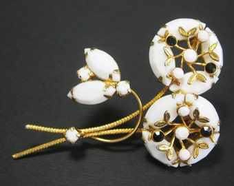 Rhinestone Milk Glass Brooch - Black and White Rhinestone Brooch - Flower Brooch - Gold tone Metal