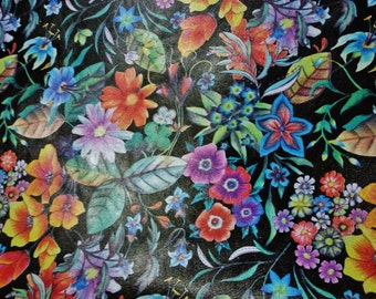 """Leather 8""""x10"""" Colorful WILD DAISIES on BLACK Cowhide 2.5-2.75 oz / 1-1.1 mm PeggySueAlso™ E5200-11 Limited*D"""