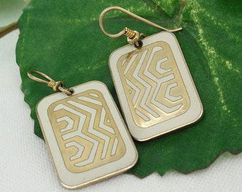 Vintage Laurel Burch Geometric Earrings, White and Gold, 1980s Estate Jewelry