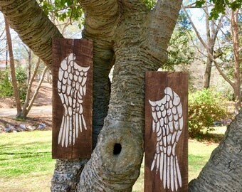 Pair of Angel Wings painted on Reclaimed Wood - Rustic Angel Wing Wall Decor - Rustic Wall Hanging - Pallet Wood Art