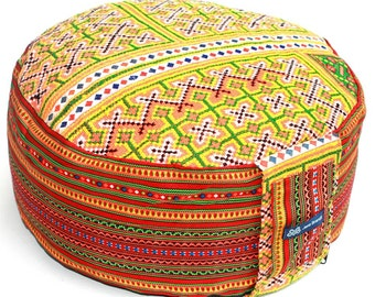 Embroidered Unique Cushion - Round Pouf Zafu Pillow Filled with Organic Spelt Grain