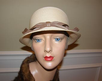 Vintage Ladies Hat Straw Cloche has Upturned Brim in Back and Mocha Ribbon with Bow  VERY Finely Finished Straw
