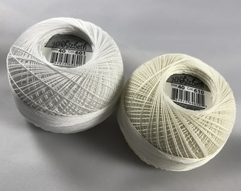 Lizbeth Tatting Thread - Snow White/Cream TWO Pack (Colors 601 and 610) - Size 40 - Your Choice of Amount