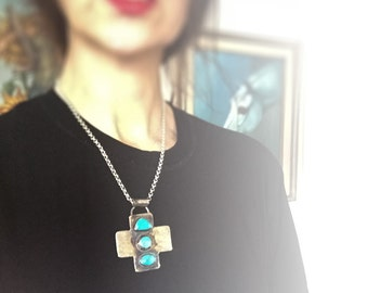 Handmade Silver and American Turquoise Cross Pendant Jewelry