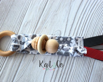 "Ready to ship Natural maple teething ring in organic gray and white ""folk""  fabric.  Can be personalized."