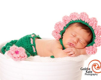 Baby Girl Hat - Baby Flower Hat or Hat & Diaper Cover Earflaps and Ties and Vine Tail with Flower Clip