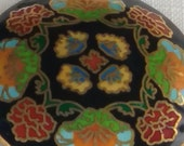 ANTIQUE cloisonne bead floral antique rust turquoise green on BLACK/GOLD floral disc 60mm