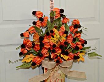 Front Door Fall Wreaths , Orange Color Wreath , Country Western , Indoor Outdoor , Fall Wreath , Fall wreaths for doors , Gifts For Her