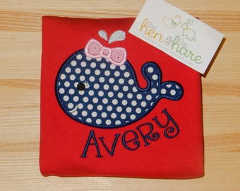 Summer time Whale girl with bow beach ocean shirt or onesie personalized custom made name initials monogram gift present embroidery applique
