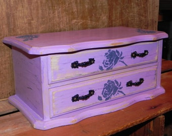 Purple and Blue Vintage Music Jewelry Box - Rose Flowers - Refinished, Shabby Chic, Home Decor, Jewelry Storage, Dresser Jewelry Box
