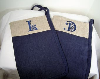 Linen Shower Scrub Mitt Set, 100% Linen Bath Glove, Two Shower Mitts, Yours and Mine