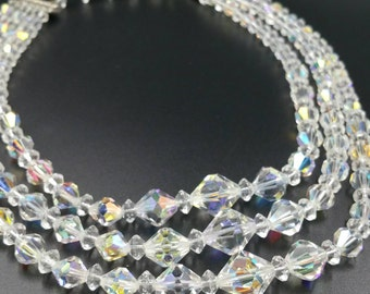 3 Strand Crystal Necklace, Vintage Clear Aurora Borealis Triple Strand Crystals, Graduated Size Beads, Adjustable Length Crystals
