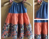 Boho/Hippie Peasant Style  Denim and Cotton Sundress, girls size 6