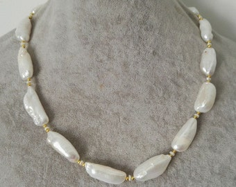 PEARL Necklace-  baroque pearl necklace, white freshwater pearl necklace, big pearl necklace,