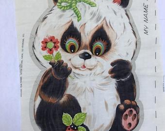 Vintage Poco Panda Project Fabric Panel Stuffed Animal