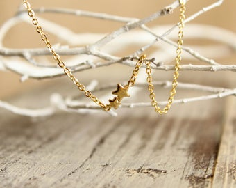 Double Star Necklace in Gold