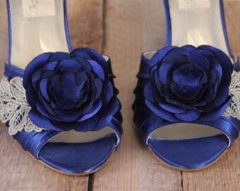 Sapphire Blue Wedding Shoes, Wedding Shoes Blue, Something Blue, Something Blue Shoes, Custom Wedding Shoes, Wedges, Lace Wedding Shoes