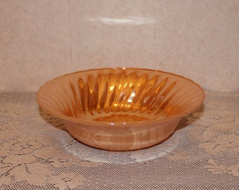 Vintage Anchor Hocking Fire King Luster Peach Swirl Serving Vegetable Bowl