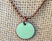 Enameled Penny Necklace - Upcycled Penny - Lucky Penny Charm Necklace - Robin's Egg Blue