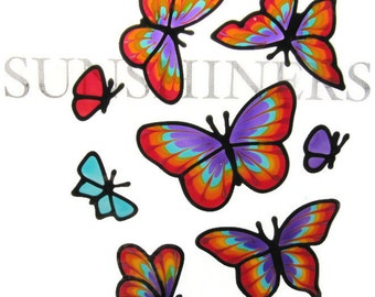 large rainbow butterfly set Suncatcher window sticker/decal stained glass style Sunshiner
