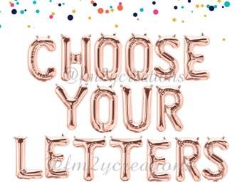 Custom Balloon Letters | Gold Letter Balloons | Rose Gold Letter Balloons | Silver Letter Balloons | Pink Balloons | CUSTOM LETTER BALLOONS