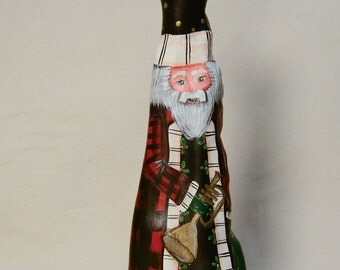 Cypress Knee Santa with Trumpet, Buffalo Plaid
