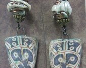 Ethnic Earrings, Tribal Mask Earrings, Rustic Earrings, Boho Earrings, Rustic Boho Earrings,  Raku Earrings, Handmade Artisan Earrings