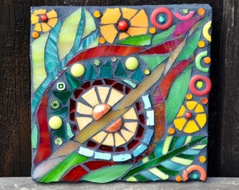 Abstract Leaf  & Flower Mosaic Plaque